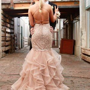 Sherri hill rose gold prom dress